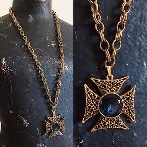 Vintage 60s Patty Cross Pendant Necklace